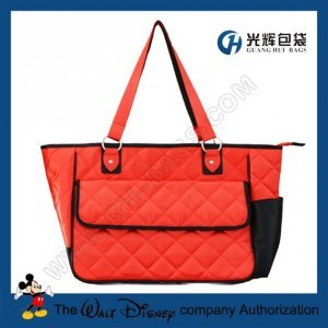 Polyester satin red tote diaper bags