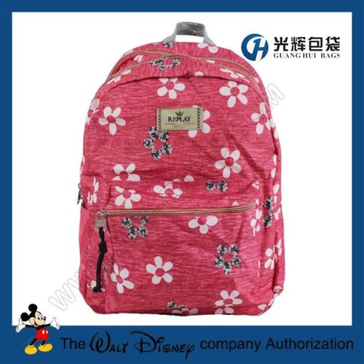 Sliver webbing backpacks with flower print