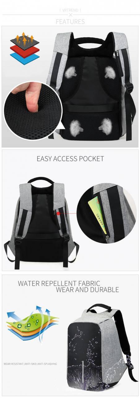 Travelling Waterproof custom anti theft laptop backpack